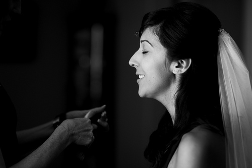 Bride Wearing Make-Up before the Wedding